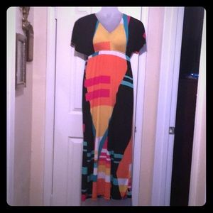 SOHO Multi-Color Print Maxi Dress.